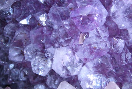 Amethyst crystals in geode