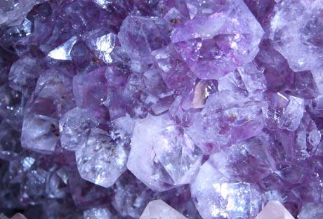 Amethyst crystals in geode