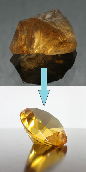 rough to faceted gemstone