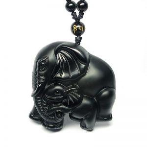 black obsidian elephant pendant