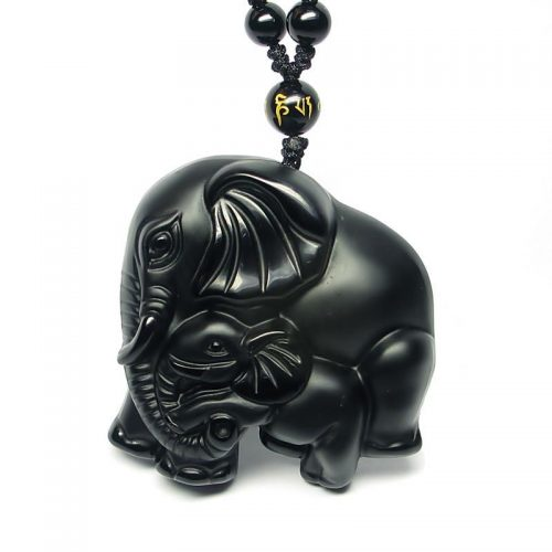 Black Obsidian Carved Elephant Pendant Crystals Gems